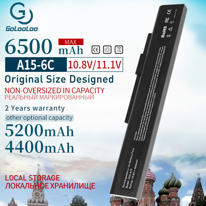 Golooloo 6 Cells A32-a15 Laptop Battery For MSI A42-A15 CR640DX A6400 CR640MX CR640X CX640DX CX640 CX6 CR640 A41-A15  A42-H36