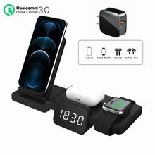 Nuovo caricabatterie Wireless LED sveglia telefono Pad di ricarica termometro digitale per IPhone 12 Pro/Mini per i Watch 6 SE 5 Airpods Pr