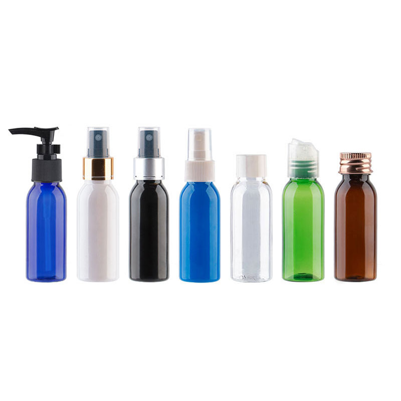 30ml 1pc Round Shoulder PET Plastic Empty Bottle With Multiple Cap, Spray Or Lotion, 1oz Small For Travel, DIY Refillable Makeup