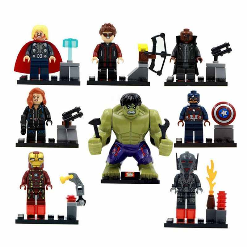 8pcs/lot Avengers Hulk Thor Captain Iron-man Black Widow Compatibie Legoinglys Building Blocks Toy Kit DIY Educational Gifts