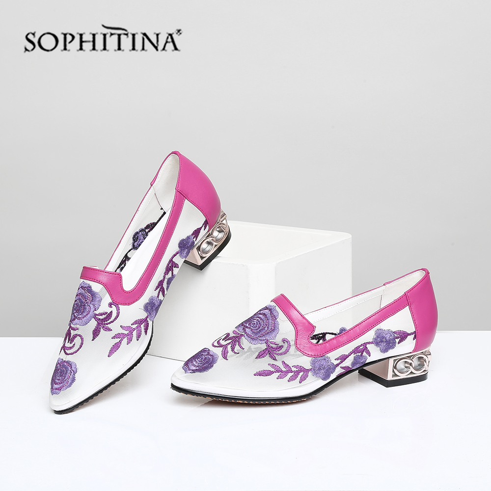 Buy SOPHITINA Summer Women Pumps Pointed Toe Fretwork Heel Low Embroider Slip-On Metal Decoration Shoes Cow Leather Mesh Pumps MO433