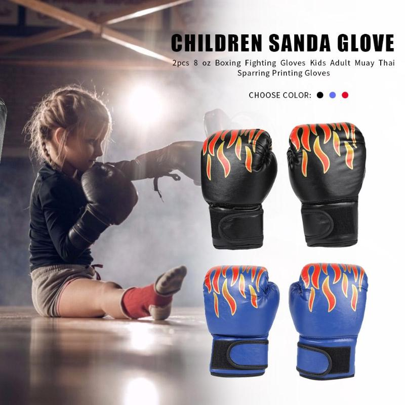 2pcs Boxing Training Fighting Gloves Leather Kid Sparring Kickboxing Gloves