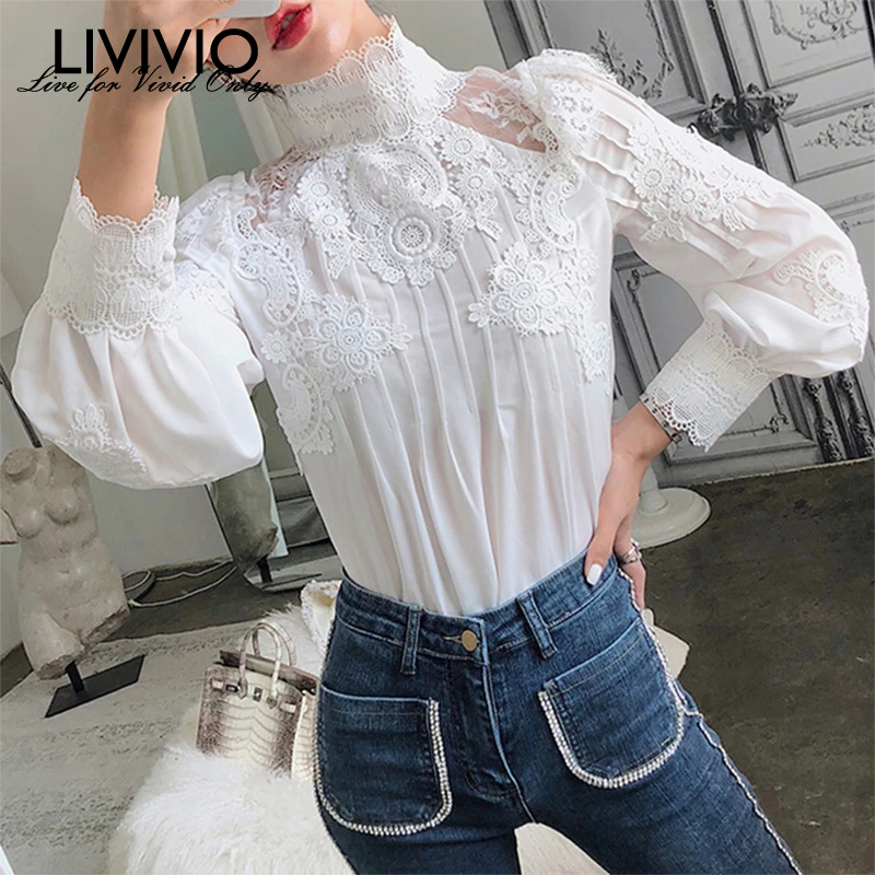 [LIVIVIO] Mesh Lace Patchwork Shirt Female Stand Collar Lantern Sleeve Fashion Woman Blouses 2019 Autumn Korean Fashion Clothing