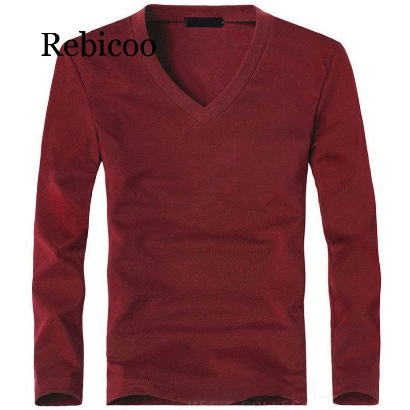 2019 stretch mens T-shirt V-neck long-sleeved large size Lycra and cotton business