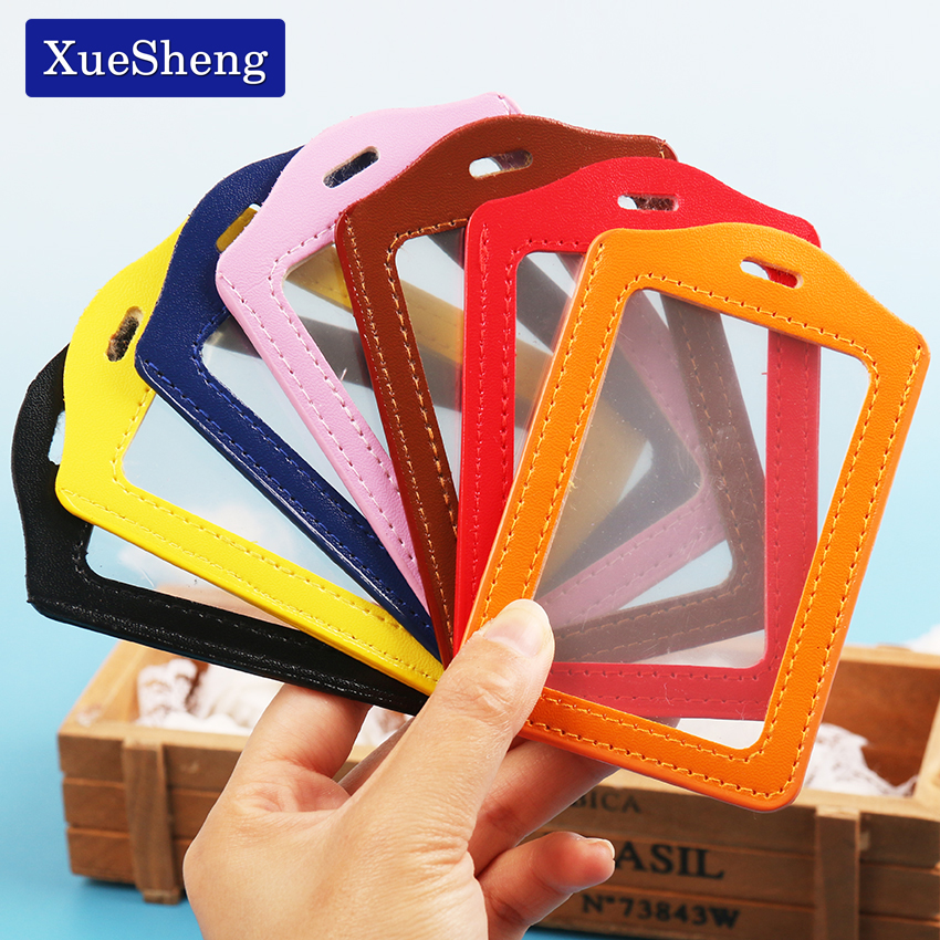 1PC PU Leather ID Badge Case Clear With Color Border Lanyard Holes Card Badge Holder 11x7CM Office Stationery Supplies