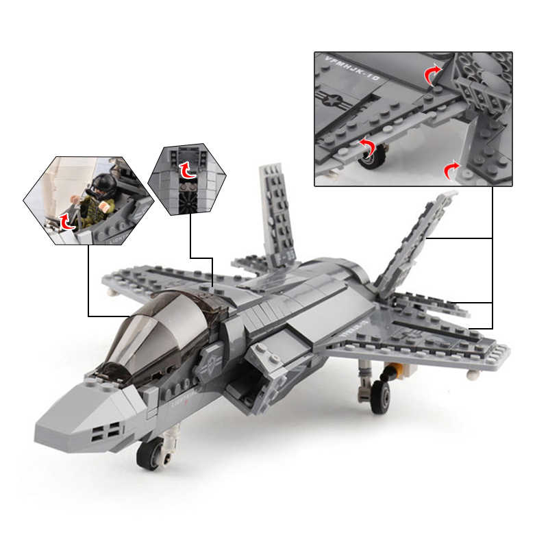 600 pces + f35 fighter montar avião modelo tijolos conjuntos de ferramentas bloco construção aeronaves combate compatível com lepining