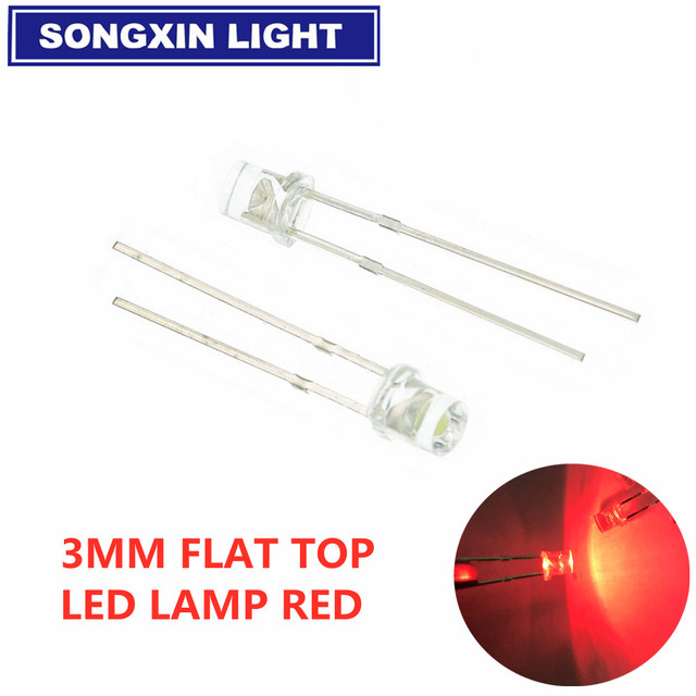100Pcs Wide Angle Leds Lamps Super Bright F3 3Mm Flatled Red New Ic ll