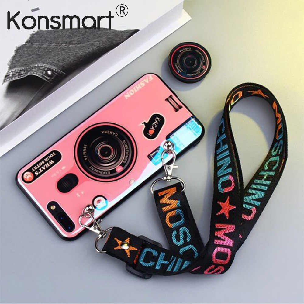 KONSMART Voor OPPO A1K A5S AX7 A7 A3S A37 A71 A83 Case Soft Camera Patroon Cover Met Strap Stand Telefoon gevallen OPPO A5S Behuizing
