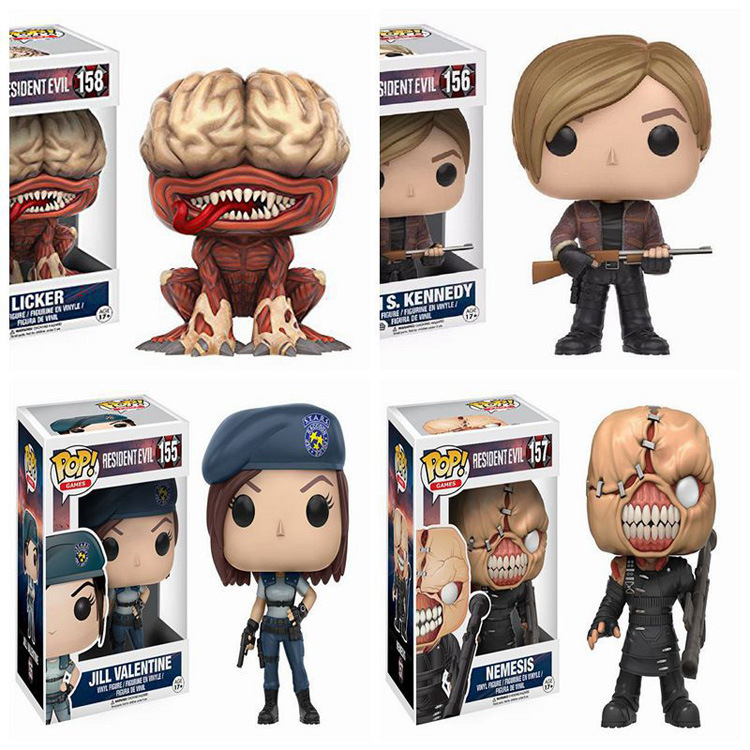 FUNKO POP NEW Resident Evil 10cm NEMESIS,JILL VALENTINE,LICKER Action Figure Collection Model Toys For children birthday Gifts image