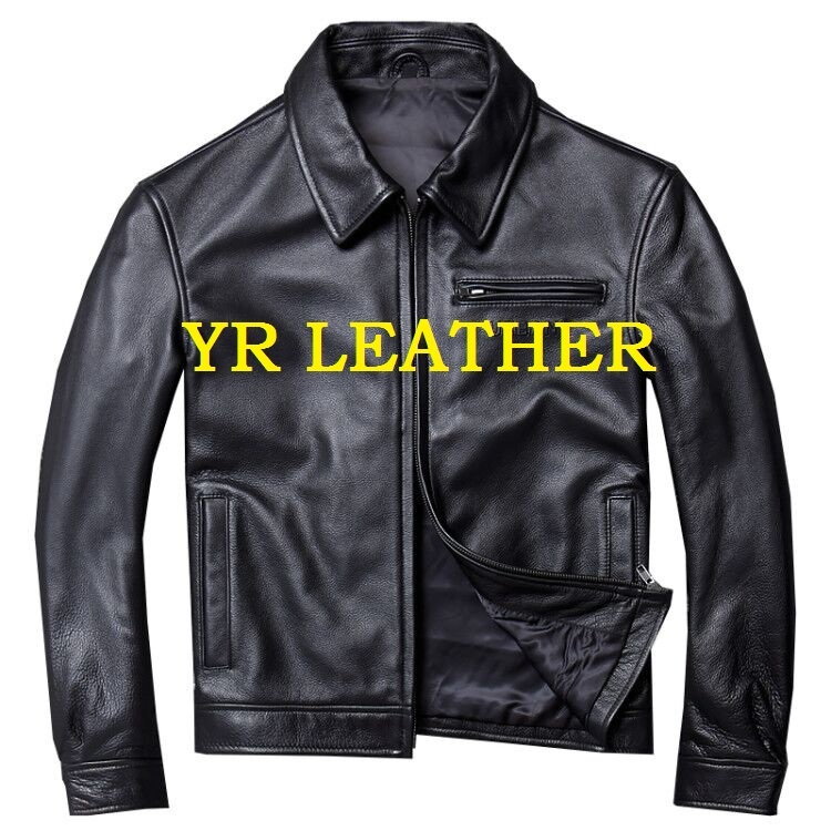 Free Shipping.Wholesales.Brand Men Casual Style Genuine Leather Jacket.black Cow Leather Coat.quality Plus Size Jackets