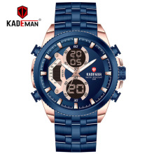 KADEMAN Luxury Fashion Men Sports Quartz  Wristwatch Mens LED Digital Watch Business 3ATM Full Steel Relogio Masculino