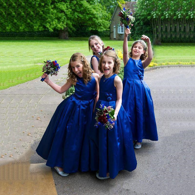 Well-Designed Royal Blue Satin Flower Girl Dress For Formal Wedding with Handmade Flowers On Belt Zipper Back Cheap Pageant Gown