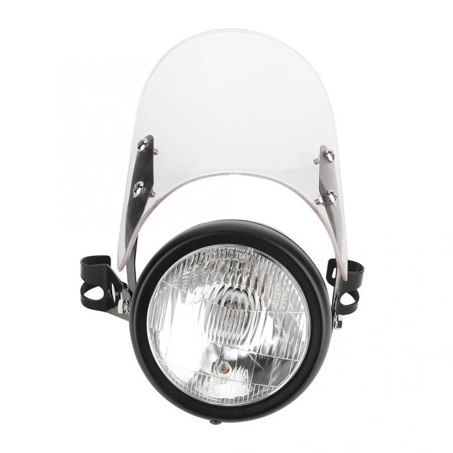 Universal Retro Motorcycle Headlight Transparent Windshield Bracket Headlamp White Lampshade Motorcycle Lampshade New Arrivals