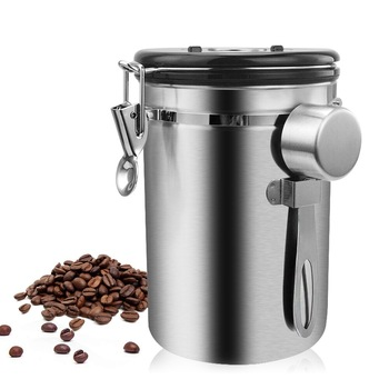Stainless Steel Airtight Sealed Canister With Spoon Coffee Flour Sugar Container Holder Can Storage Bottles Jars For Coffee Bean 1