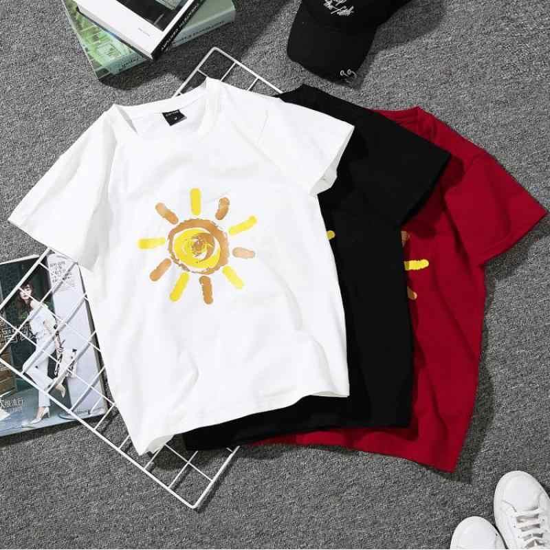 新夏の女性の太陽プリントシャツブラウスカジュアルカップルシャツ半袖シャツプラスサイズ 3XL 女性