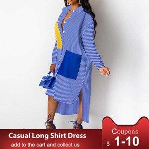 Casual African Women Dress Asymmetrical Striped Midi Dresses Long Sleeve Loose Style Streetwear Female Vestiods Long Shirts(China)