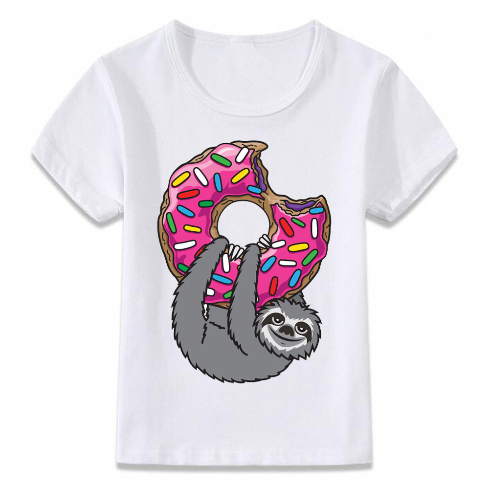Soft Cotton Casual  Kids Clothes T Shirt Donuts Loving Sloth GraphicT-shirt Boys And Girls Toddler Tee  Unisex Summer Outfit
