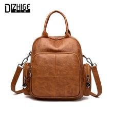 DIZHIGE Brand Vintage PU Women Backpacks High Quality School Bag For Teenager Girls Luxury Zipper Multifunction Backpack Female
