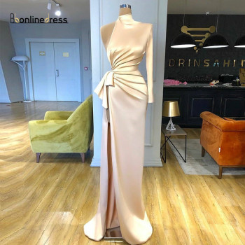 цены 2020 Elegant Mermaid Evening Dress One-Shoulder Slit Evening Dresses Long Charming Formal Party Gowns Plus Size robe de soiree