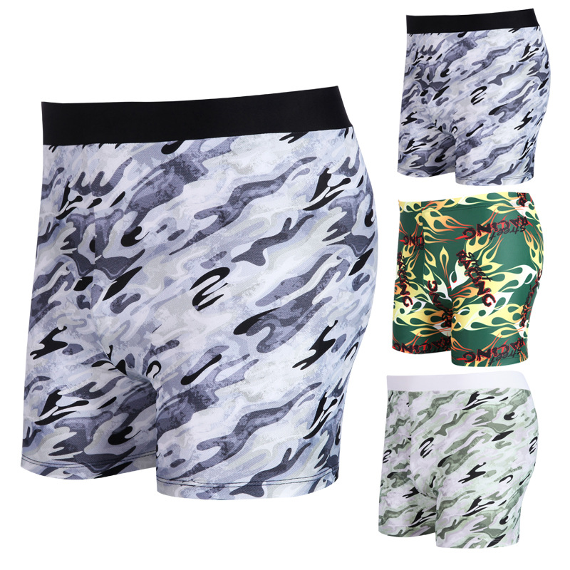 Men Swimwear Camouflage Adult Printed-Style Swimming Trunks Quick-Dry Plus-sized AussieBum
