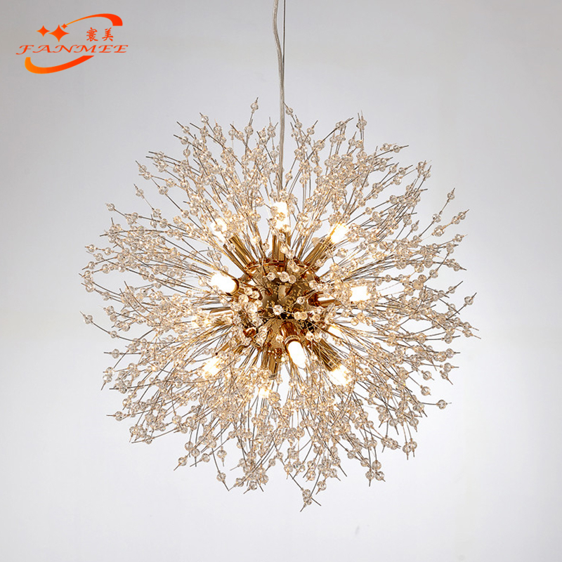 H245e276fc28f40a5a53ada97aa520a5bW Modern LED Crystal Chandelier Light Pendant Hanging Lamp Dandelion Cristal Chandelier Lighting for Living Dining Room Decoration