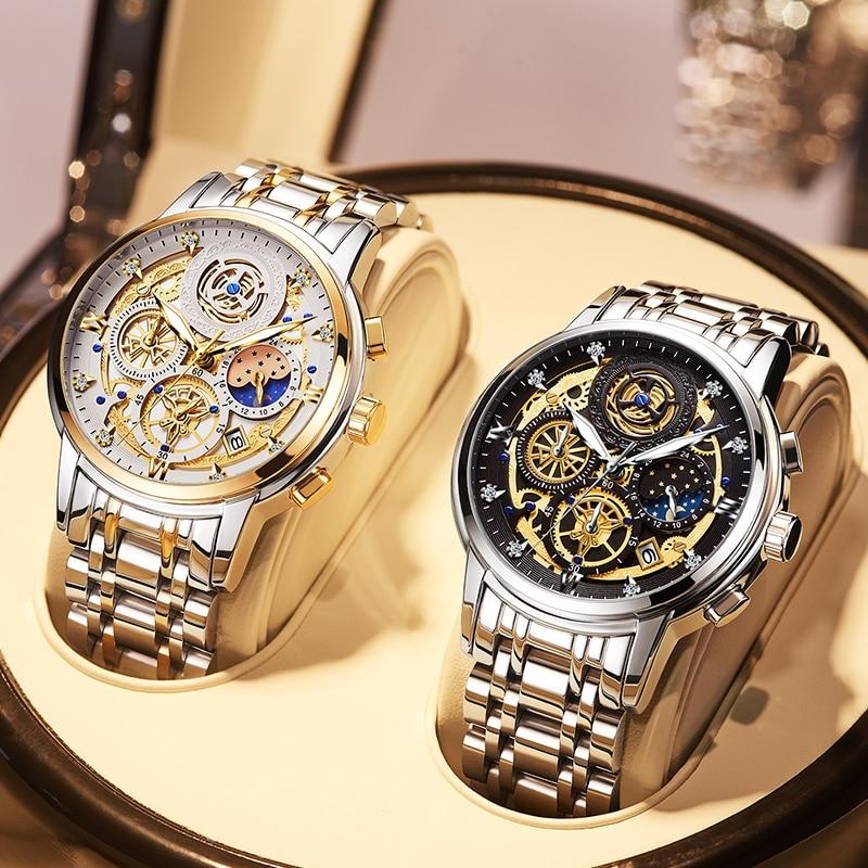 2021 New Fashion Men's Watch Stainless Steel Top Brand Luxury Waterproof  Sports Chronograph Quartz  Men's Relogio Masculino 3