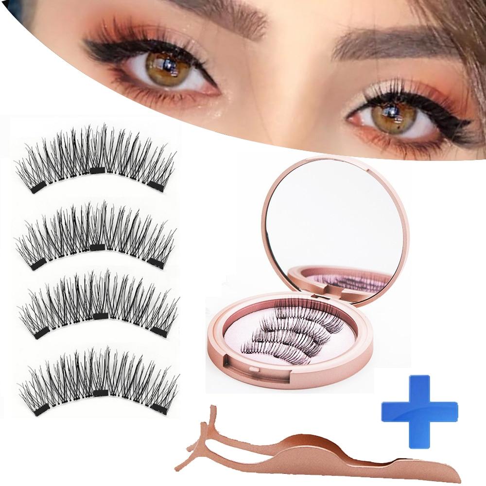 MB 3 Magnetic Eyelashes Natural Long Magneti Mink Eyelashes Set Hand Made 3D False Eye lashes tweezers faux cils magnetique 2