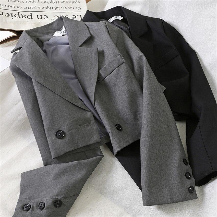 New Autumn Big Size Women Slim Single Button Blazer Formal Suits Spring Short Blazers Long Sleeve Office Lady Suit Outwear 1006