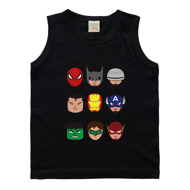 Baby Boys Girls Super Hero Cartoon Vest T-Shirt For Children Sleeveless Tshirts Cotton Undershirt Top New Kids Summer Vest