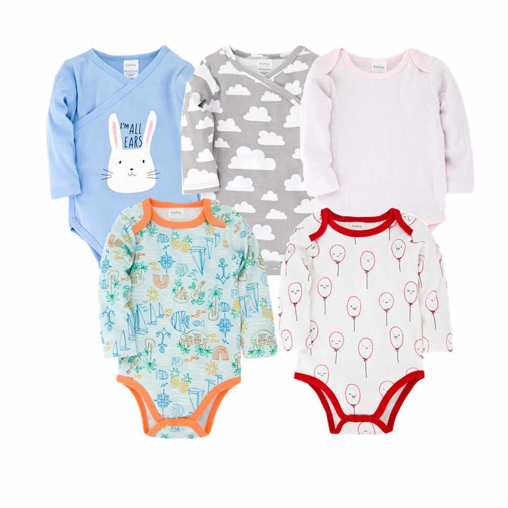 Honeyzone 2020 New Baby body szary z długim rękawem dziewczyny zestawy ogólnie bawełna niemowlę kombinezon dla malucha noworodka ubrania 5 sztuk/partia
