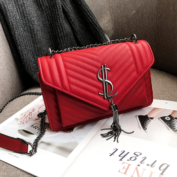 Luxury Handbags 2019 rhombic chain female Korean version of Crossbody Bags embroidery thread lock square shoulder Messenger bag
