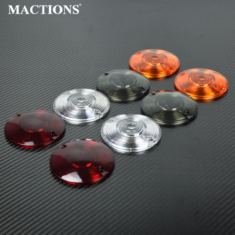 Motorcycle Smoke/Clear/Orange/Red Turn Signal Light Lens Cover 2PCS For Harley Touring Road Electra Glide Road King FLHR Softail(China)