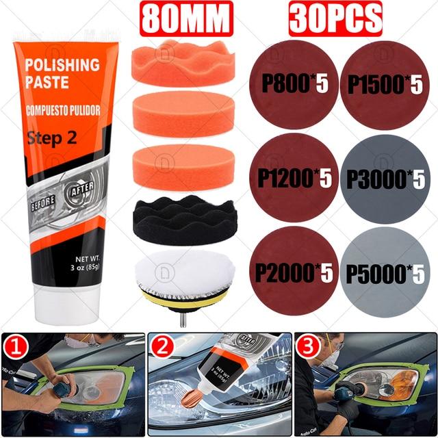 Kits de reparación de faros delanteros de coche, restauración, pulido, pasta limpiadora, restauración, cuidado de la pintura, pulidor de lentes