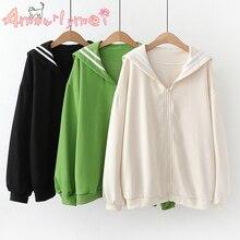 Японский консервативный стиль Осенняя Женская куртка Mori Girl Kawaii хлопок матросский воротник свободный длинный рукав повседневное пальто женская верхняя одежда