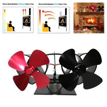 8 Blade Black Fireplace Heat Powered Stove Fan Home Efficient Heat Distribution komin Log Wood Burner Friendly Quiet Fan