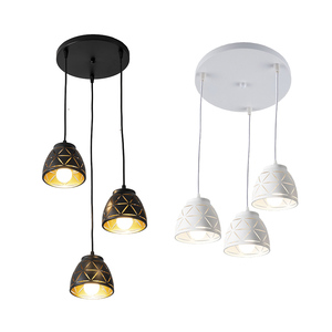 Image 5 - 3 teste di alloggiamento nero HA CONDOTTO LA Luce di Soffitto di Luce sala da pranzo 3pcs lampadina del Soffitto della lampada di Illuminazione A sospensione per Soggiorno luce apparecchi di