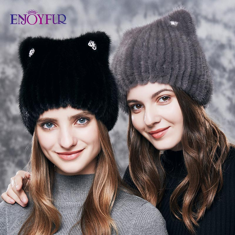 ENJOYFUR Natural Mink Fur Hats For Women Cute Cat Ear Thick Winter Hat Female Fashion Fur With Rhinestones Knitted Beanies