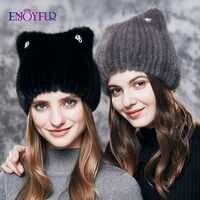 ENJOYFUR naturel vison fourrure chapeaux pour femmes mignon chat oreille épais hiver chapeau femme mode fourrure avec strass bonnets tricotés