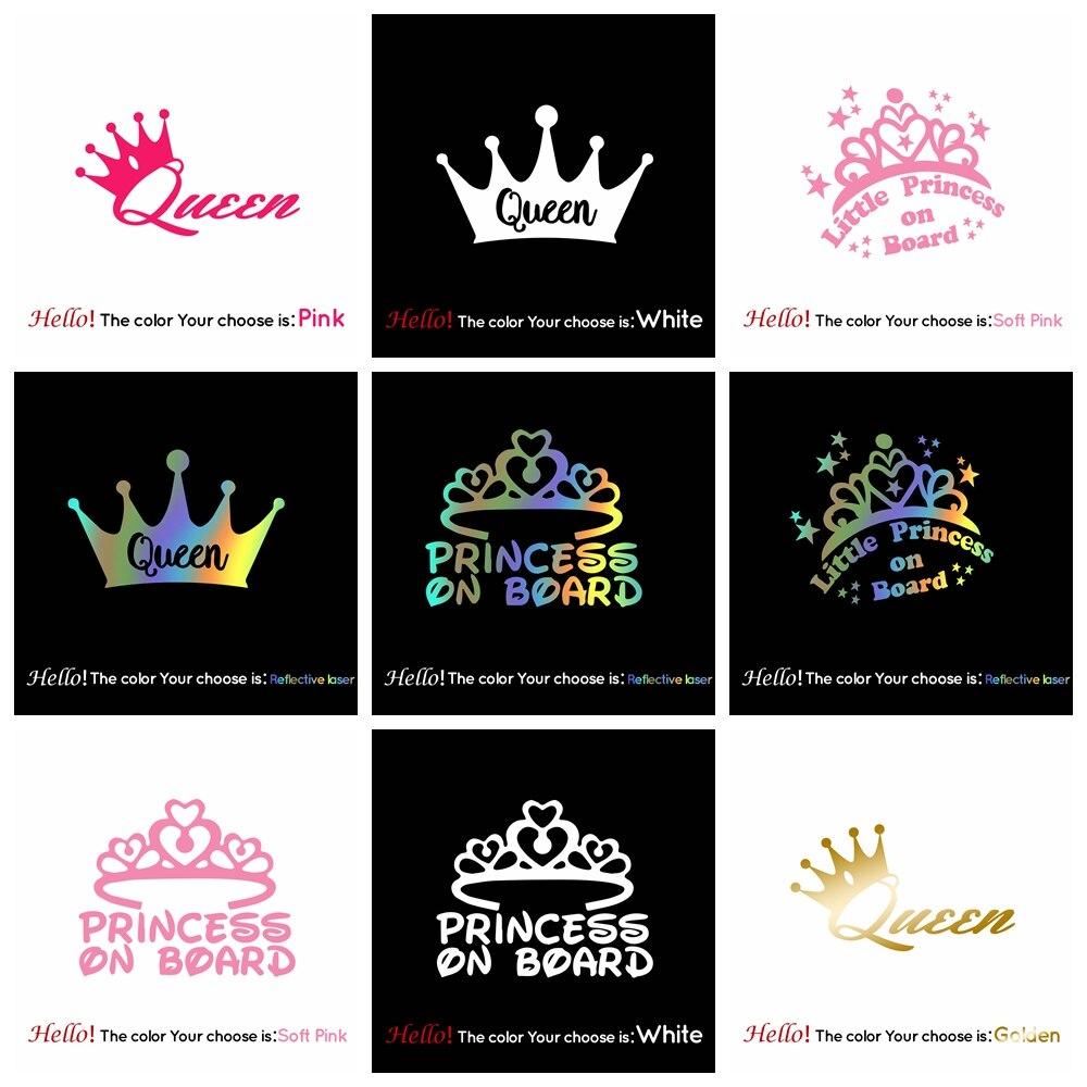Лидер продаж, автомобильная наклейка Queen Crown, модный мультяшный стикер для автомобиля, украшение окна, персональные виниловые наклейки