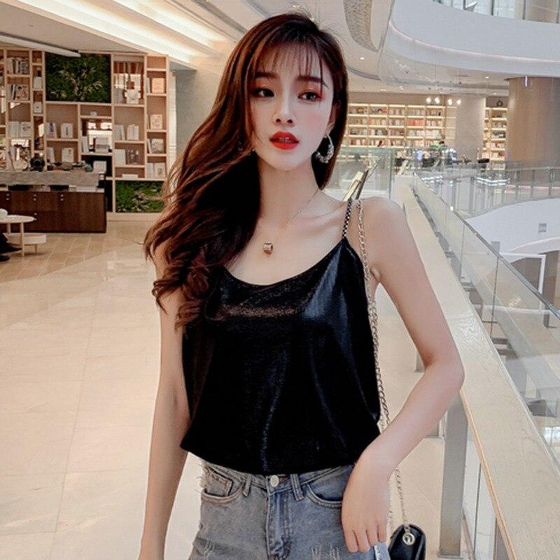 Top de fête femmes mode métallique brillant chaîne hauts amples U cou Camisole court débardeur hauts fête Clubwear Camisole haut femme. w