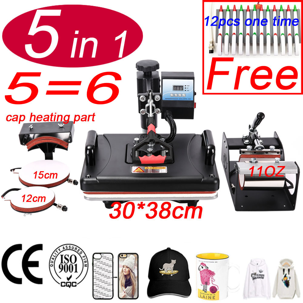 30*38CM 5 In 1 Combo Machine 2D Sublimation Vacuum Heat Press Printer