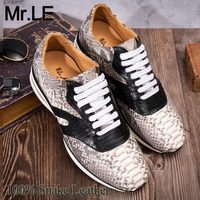 Snakeskin Shoes Men Dress 100% Genuine Leather High Quality Sneaker Sport Fashion Luxury Snake Leather Mens Leisure Casual Shoes