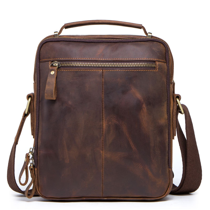 Image 2 - High quality brand crazy horse leather mens shoulder bag vintage  messenger bags men bolsos male crossbody bags mans handbagCrossbody  Bags