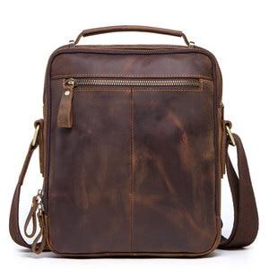 Image 2 - High quality brand crazy horse leather mens shoulder bag vintage messenger bags men bolsos male crossbody bags mans handbag