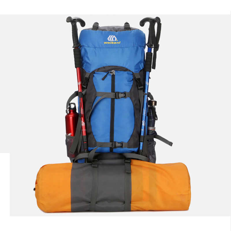 60L Panjat Tebing Luar Ruangan Ransel Hujan Menutupi Ransel Tahan Air Gunung Turistik Top Hiking Ransel Packable Tahan Air Ransel