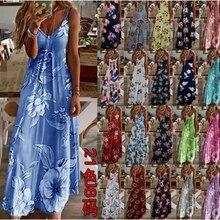 2021 europeu e americano vestido de verão vestido feminino estilo quente férias vestido suspender impresso saia llj021