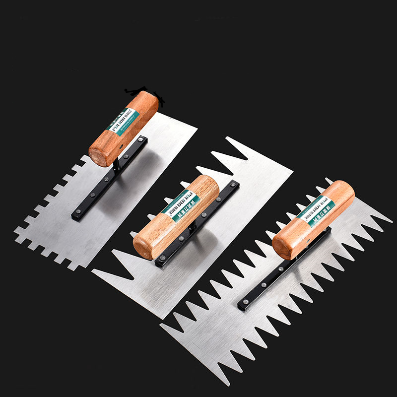 Wood Handle Tooth Trowel Manganese Steel Blade Wall Plaster Tiling Floor Tile Shovel Construction Concrete Spatula Tool