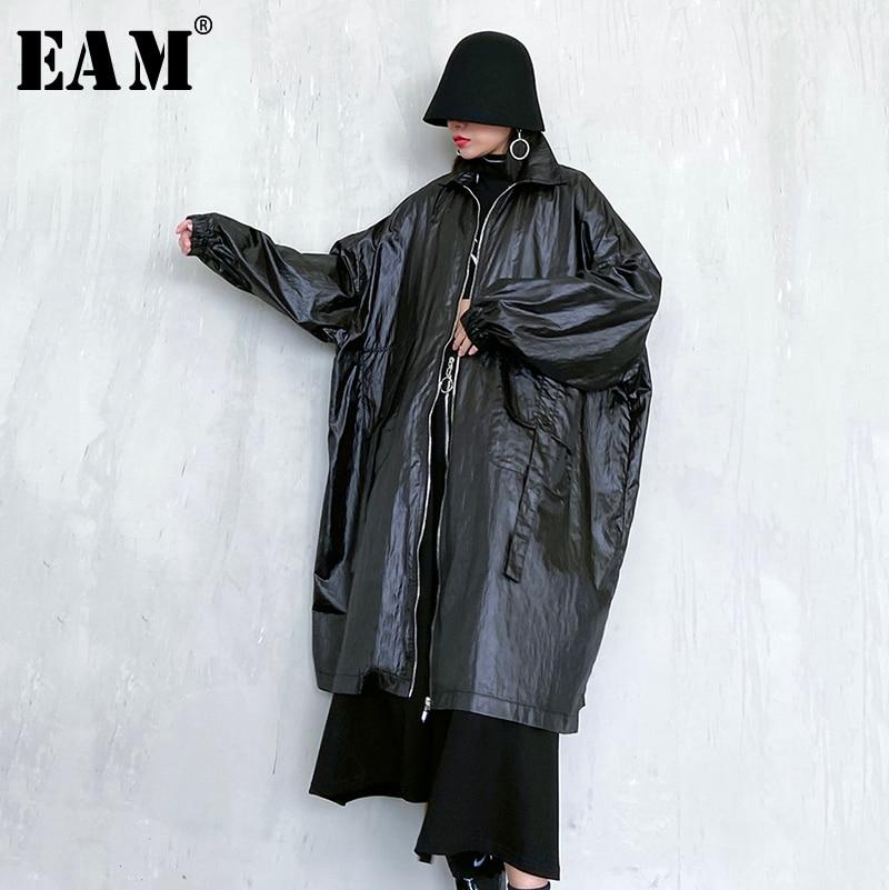 [EAM] Women Black Oversized Long Big Size Trench New Lapel Long Sleeve Loose Fit Windbreaker Fashion Tide Spring 2020 1R468
