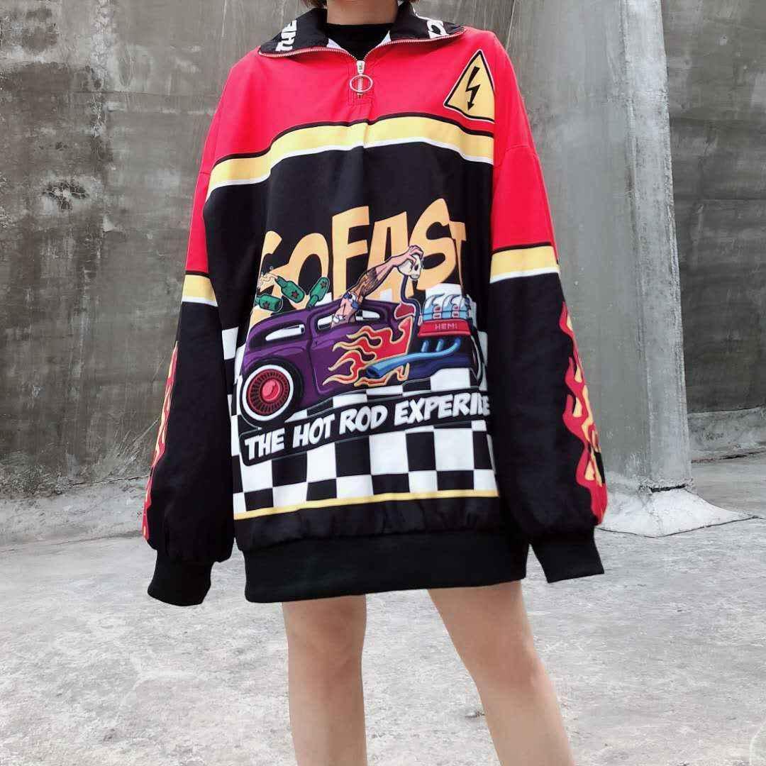 イン 2020 春の女性火災レーシングカー爆撃機ストリート原宿特大 jackte ウインドブレーカーパンク BF ルース韓国コート