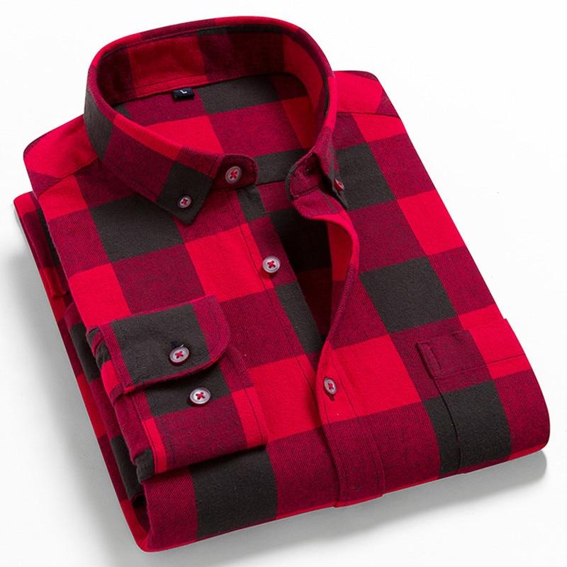 Men Flannel Plaid Shirt 100% Cotton 2021 Spring Autumn Casual Long Sleeve Shirt Soft Comfort Slim Fit Styles Brand For Man Plus